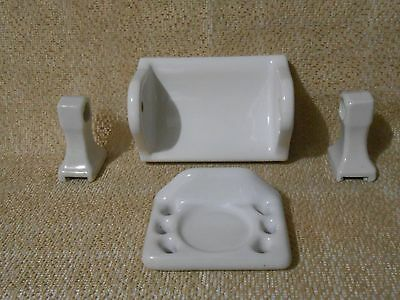 Vintage White Porcelain Bathroom Fixtures Toilet Paper Towel Cup Toothbrush
