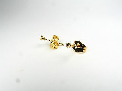 24ct real gold GF stud earrings with simulated diamonds 2mm, weight 0.5g