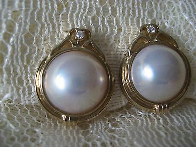 Vintage 14k YF Mabe pearl earrings Diamond accent Omega back Pierced Excellent
