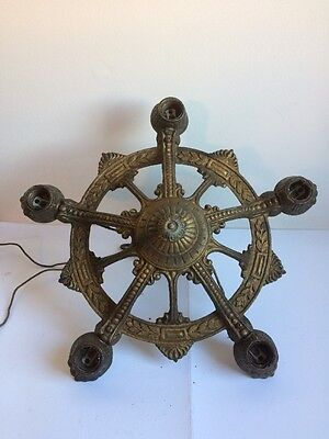 Antique Art Nouveau Cast Iron 5 Light Chandelier For Restoration