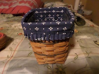 Longaberger Basket 1996 hand made in Ohio 8 in. tall 6 1/2 wide liner /protector