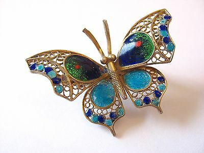 A very pretty antique 800 silver Germany? enameled butterfly pin/brooch