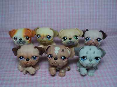 Discontinued Rare Authentic LPS Littlest Pet Shop Lot of 7 Bull Dogs Excellent