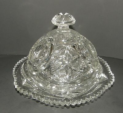 Antique EAPG Millersburg Ohio Star Pattern Glass Covered Crystal Butter Dish