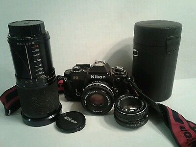 Nikon FG 35 mm Camera With Telescopic Lens & Case VINTAGE