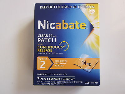 Nicabate - Clear Patch 14Mg Continuous Release - 1 Week Kit - Brand New