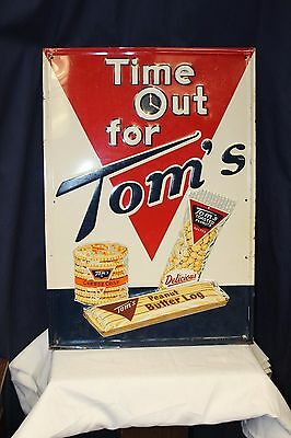 1958 Original TOM'S Toasted Peanuts Advertising Embossed Tin Sign