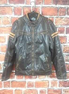 First Wave Boy's Faux Leather Zipper Front Bomber Jacket Size 20