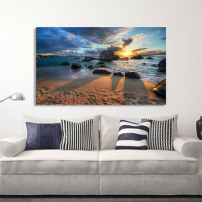 Framed Canvas prints, seascape print on canvas, Sunset of Beach,time lapse photo