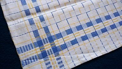 rare unused Towel or rustic napkin linen andblue/yellow checkered pattern