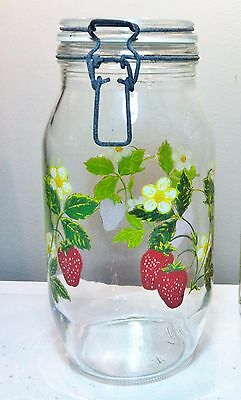 vintage 2 Liter ARC FRANCE Glass Bale Wire Jar Canister STRAWBERRY