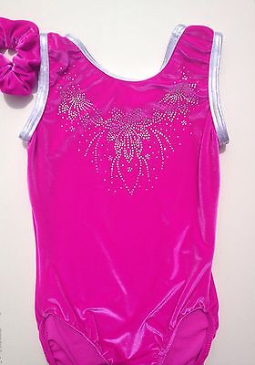 "Gymnastic Leotard Girls Size 32"" NEW Pink Smooth Velvet Crystal Rhinestone Gems"