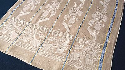 old linen kitchen Runner ecru coloured floral pattern and blue / yellow stripes
