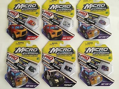 6 x MICRO CHARGERS BOOSTER PACKS - ELECTRONIC MICRO RACING CARS -FACTORY SEALED