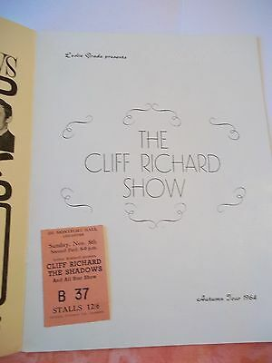 The CLIFF RICHARD Show programme and ticket 1960's