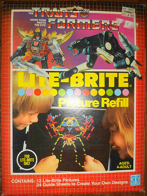 Rare Vintage 1985 Lite-Brite Picture Guide Sheets Refill Trans-Formers #5464 Nip