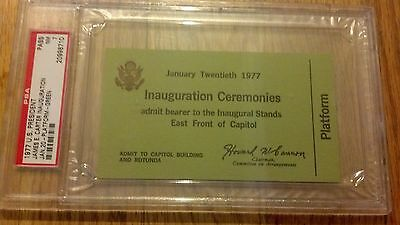 1977 PRESIDENT JIMMY CARTER INAUGURATION Swearing in VIP Platform Ticket PSA 7