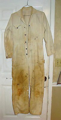 Vintage WHITE DENIM JEAN COVERALLS SANFORIZED COTTON MEN'S