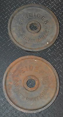 """Pair OF 33 lbs 15 KG Weider INTERNATIONAL Weight Plates 2"""" Olympic Rare  66Lbs"""