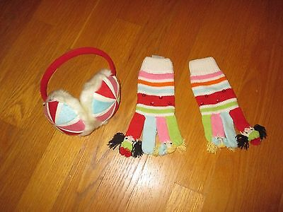 Girls Gymboree Cozy Cutie Earmuffs and Finger Puppets Gloves Size 8 and Up