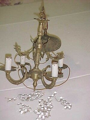 Pretty Petite Antique 4 Arm Brass Chandelier with cut crystals Art Deco Chandy &