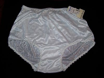 Vintage all nylon wide 2X crotch lacy brief Panty size 10  - made USA