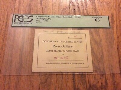 1940 President Franklin Roosevelt War Funding Address to Congress Ticket PCGS