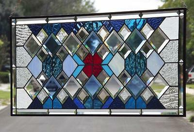"•• Blue Spectrum ••Beveled Stained Glass Window Panel • Huge 35 ½""x16 ½"" COA"