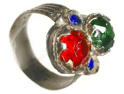 18thC Byzantine Silver Ring Ruby Red Emerald Green Sapphire Blue Glass Gems Sz10