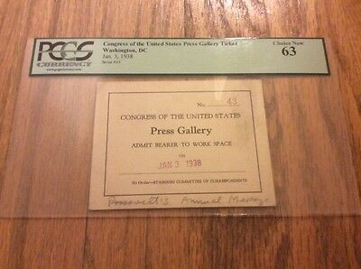 1938 President Franklin Roosevelt State of the Union Address Press Pass PCGS