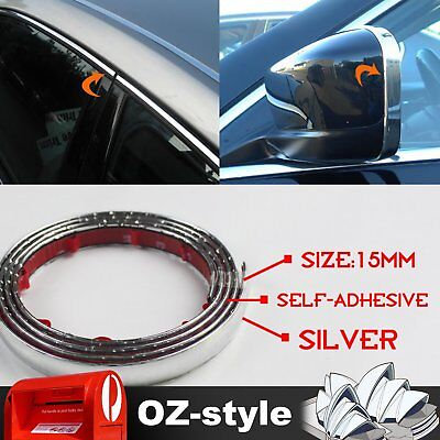 15mm Car Chrome Silver Moulding Trim Strip Sticker Window Bumper Door Decals 5M