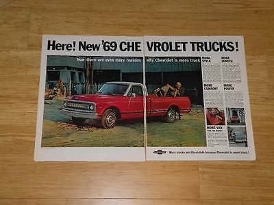 Vintage Magazine Ad - 1969 - Chevrolet Trucks (two-pages)