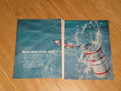 Vintage Magazine Ad - 1968 - Budweiser Beer - (two-pages) -fishing