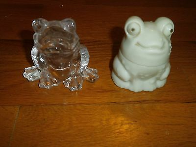 Frog Toad Lead Crystal Miniature Figurine Paperweight Clear Avon # 20 Taiwan
