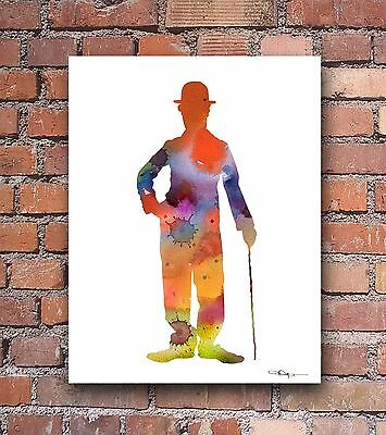 Charlie Chaplin Abstract Watercolor Painting Art Print by Artist DJ Rogers