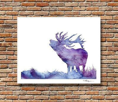 Calling Stag Abstract Elk Watercolor Painting Art Print by DJR