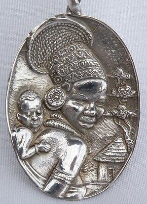 Rare Vintage South African Canna Sterling Silver Souvenir Figural Spoon
