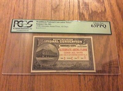 1928 Republican National Convention PRESIDENT HERBERT HOOVER Alt. Ticket PCGS 63