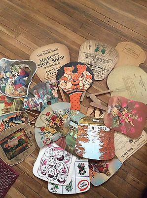 18 Vintage Paper Fan Lot Advertising Insurance Funeral Home Automobile Shoes