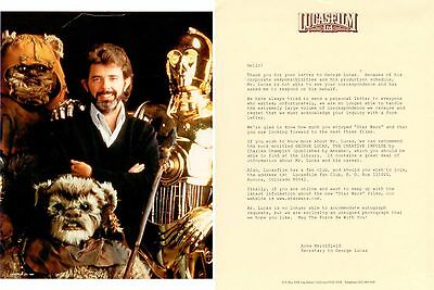 George Lucas Stars War 8 x 10 photo Lucasfilm LTD letter, doesn't give autograph