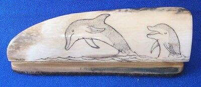 Scrimshaw dolphin scene hand done one of a kind
