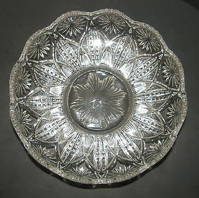 Antique EAPG Millersburg Country Kitchen Pattern Glass Large Crystal Bowl