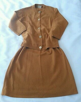 Original Vintage Ballantyne Of Peebles 100% Cashmere Sweater Skirt Set Scotland