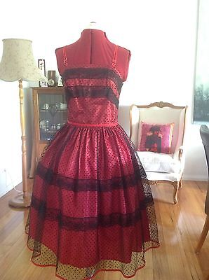 1950s Style Red / Black Spotted Party Dress - Size 12