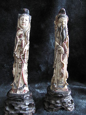 Antique Chinese Pair of Carvings on wood stand