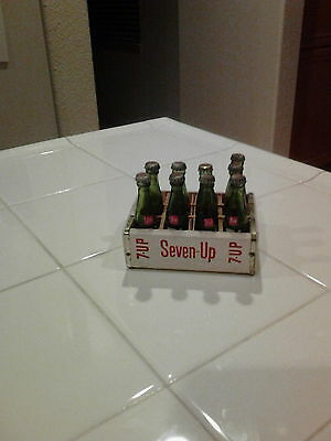 Vintage Mini Wooden 7 Up Crate with 8 Bottles