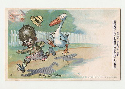 1904 artist sgd F.G. Long racist postcard black boy chased by goose candy advert