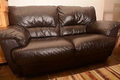 """Brown leather 2 seater settee """"Furniture Village"""""""