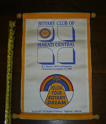 ROTARY CLUB OF MAKATI CENTRAL  vintage PENNANT BANNER DISTRICT 3810  PHILIPPINES