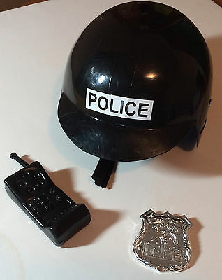 "Police Helmet with badge & ""Walkie Talkie"" toy"